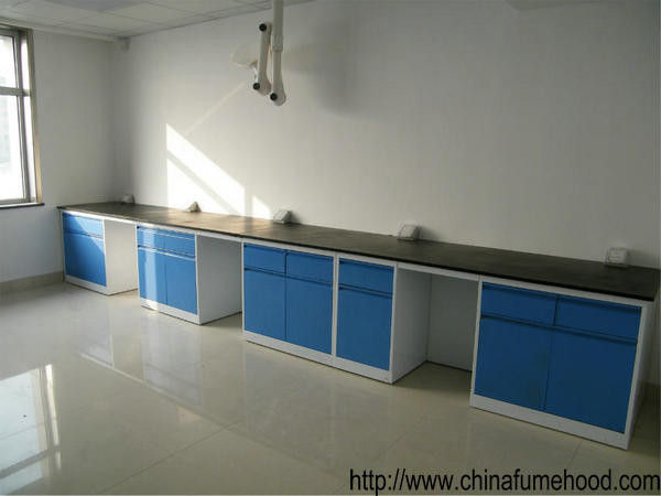 School Chemical Steel Lab Furniture , Hanging Cabinet Lab Tables Work Benches