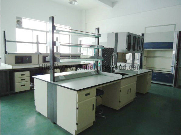 Food Industry Laboratory Working Table Steel Furniture With Reagent Rack