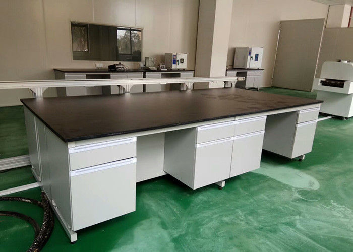 White Wood Lab Workbench Furniture With Steel Frame For High School / Hospital
