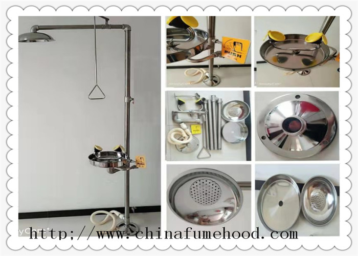 316 Stainless Steel Floor Laboratory Fittings Chemical Shower And Eyewash Station